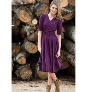 Shabby Apple Purple 3/4 Sleeve Wrap Dress
